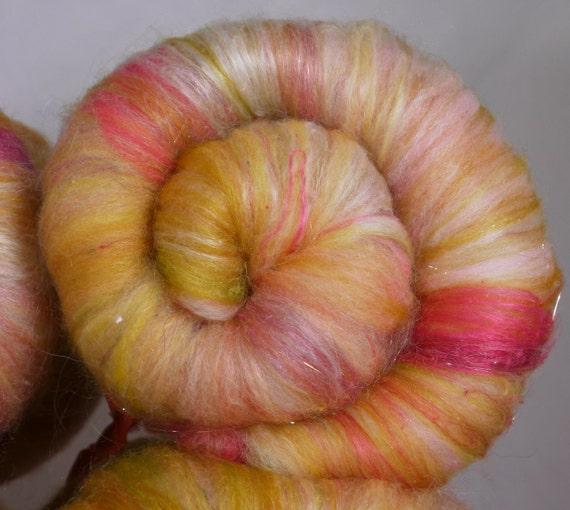 Fiber Batts for spinning - Sparkling Pink Lemonade  (3.6 oz.) merino ,bamboo, mohair, silk, alpaca, cashmere, angelina, sari silk