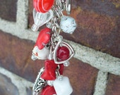 Beaded keychain, purse charm. Made with Red and White Glass Beads, Red Turquoise Bead Frame.