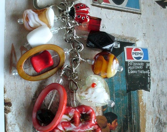 Beaded keychain, purse charm, cell charm, with Red Porcelain Flower Plus Red & Black Beatle