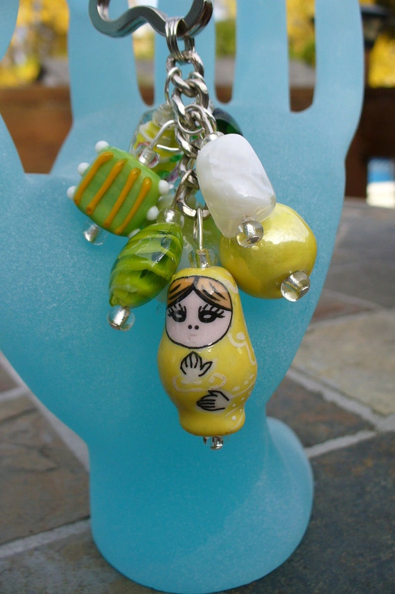 Russian doll Beaded keychain, purse charm, Made with Green,Yellow and White glass beads.