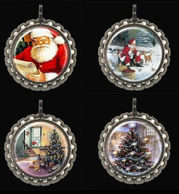 Christmas Tree Ornament Decorations Santa Claus Bottle Caps Set of 4 With Choice of Bottle Cap Color