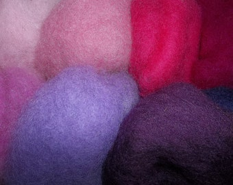 Needle Felting Wool - Berry Patch Colors-Wet Felting Wool