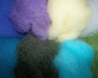 Needle Felting Wool- Lily Pond Wool Sampler-Wet Felting Wool
