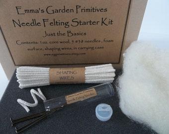 Needle Felting Starter Kit - Organic Wool Kit - Just the Basics PLEASE