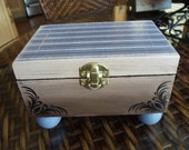 Hand Painted Jewelry Box, Trinket Box, Stash Box Brown Blue Off White, One of a Kind Box