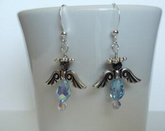 Angel Earrings Swarovski Crystals Aquamarine With Pewter Wings Sterling Silver Earwires