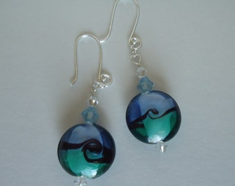 Aqua Earrings Lampwork Glass Bead Swarovski Crystal Aquamarine Sterling Silver