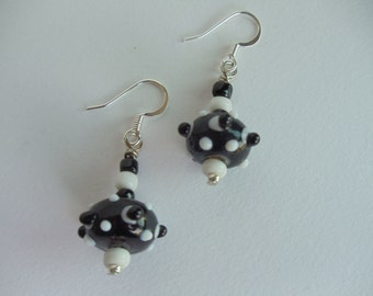 Earrings, Black & White Lampwork Beads Surgical Stainless Earwires