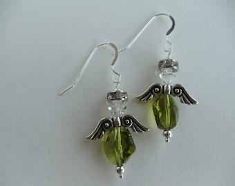 Angel Earrings Green Crystals Swarovski Crystals Sterling Silver .925, Pewter Wings