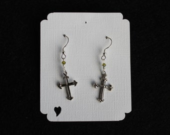 Sterling Silver Cross Earrings with Swarvoski Crystal on Sterling Silver Earwires
