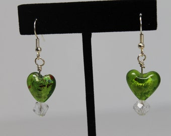 Green Heart and Crystal Earrings Surgical Stainless Earwires