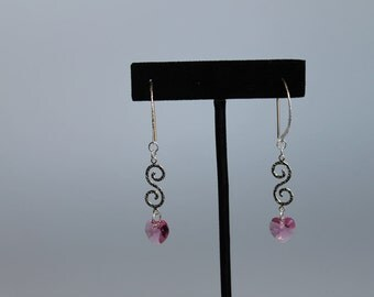 Pink Heart Earrings, Sterling Silver and Swarovski Indian Pink Crystal Heart Earrings