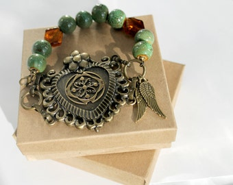 Heart Bracelet, One of a Kind Brass Heart with Green Ceramic Beads, Beaded Bracelet, Goth Bracelet