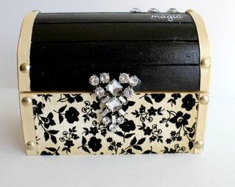 One of a Kind Black and Cream Treasure Chest Jewelry Box, Stash Box, Trinket Box, Elegant Box