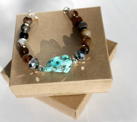 Turquoise Beaded Bracelet, Turquoise, Onyx Bracelet, Blue and Brown Bracelet