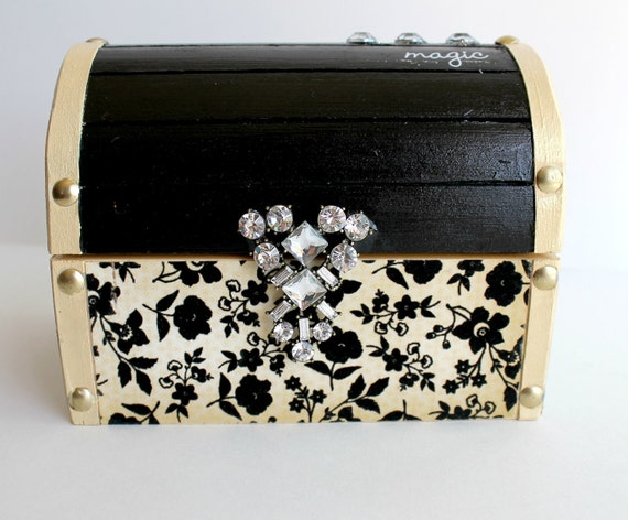 One of a Kind Black and Cream Treasure Chest Jewelry Box, Stash Box, Trinket Box, Elegant Box