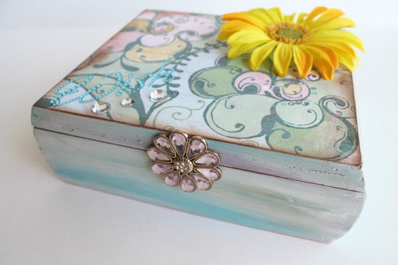 Jewelry Box, Cigar Box, Trinket Box, Stash Box, Pastel Shades of Teal Pink Yellow and Bling, Hand Painted