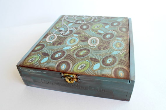 "Jewelry Box, Trinket Box, Hand-Painted Cigar Box, Stash Box, Altered Art Box, Blue, Green, Brown, ""Crystals"""