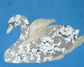 Silver Swan - Original Handmade Acrylic Paint and Paper Painting on Canvas
