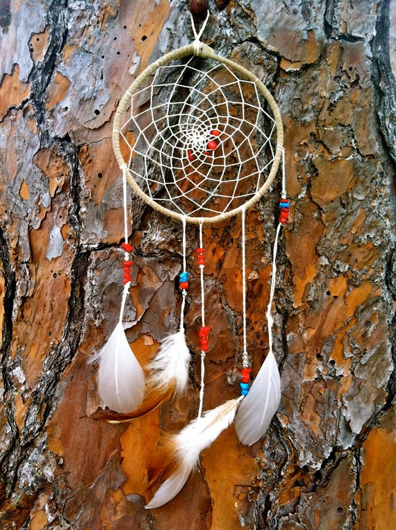 Dreamcatcher with turquoise and coral