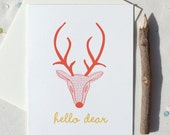 Hello Dear Conversational Card in pink and red with yellow orange handwriting font spring tribal