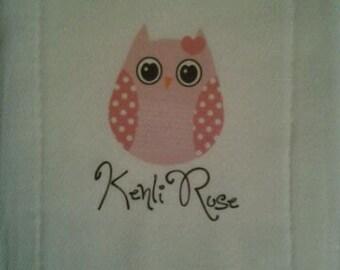 Personalized Burp Cloth Simple Owl Design