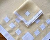 Vintage Linen Tablecloth Napkins Applique Yellow White