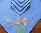 Vintage Linen Tablecloth Napkins Embroidery Applique Blue Penny Flowers