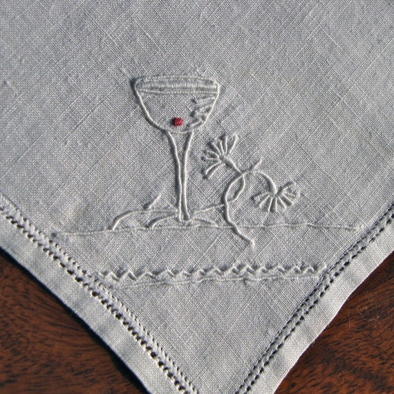 Vintage Linen Cocktail Napkins 6 Embroidery White Perfect