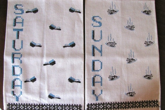 Vintage Linen Towels Two Embroidered Blue Black Saturday Sunday Days of the Week
