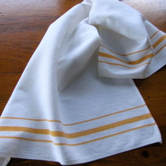 Vintage Towels: Vintage Linen Dish Towel Yellow Stripe Kendall