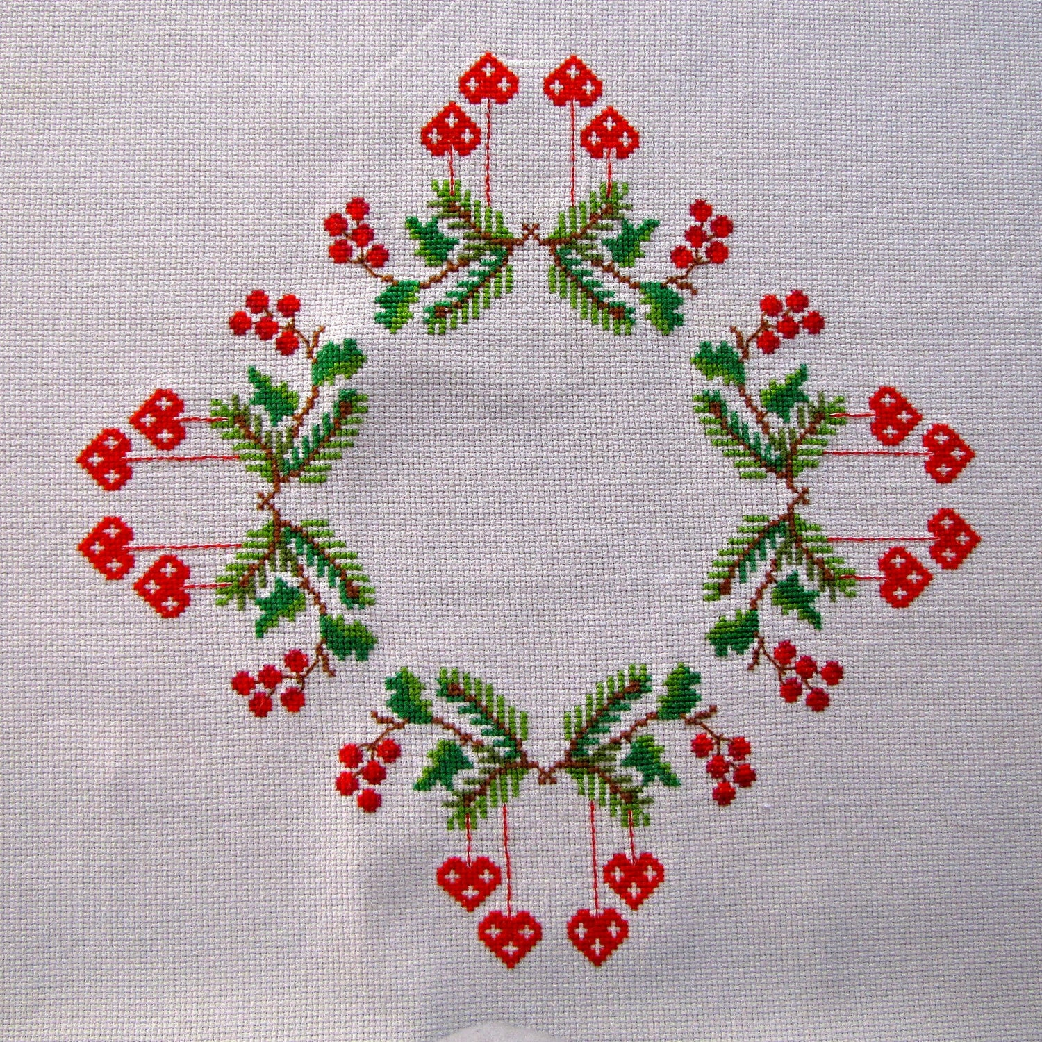 Vintage Linen Tablecloth Embroidered Cross Stitch Swedish