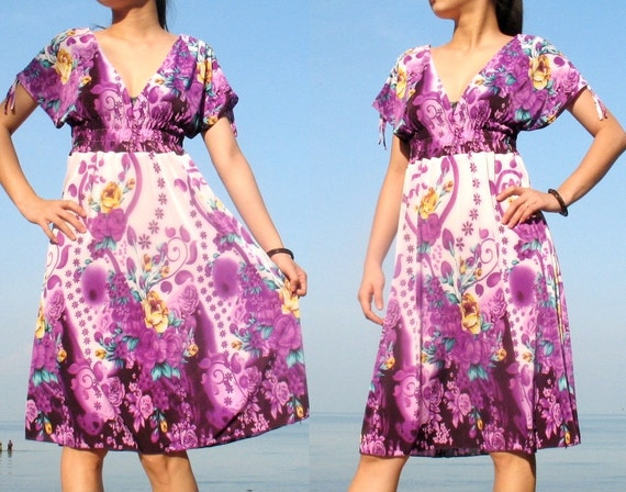 SUMMER SALES 70% OFF Bridesmaid Dress - Floral Cocktail Dress - Two Way Wear Party Dress