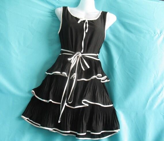 Little Black Dress - Soft Layers Cocktail Dress - Sweet Heart Chiffon Dress - Romance Night