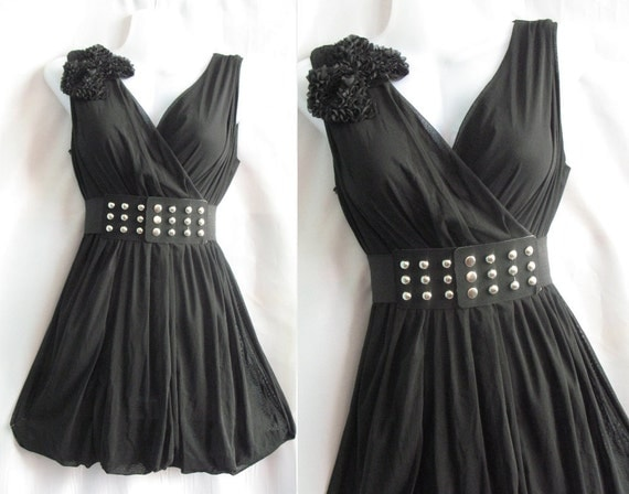 Chiffon Party Dress -  Sweet Night Sexy Top Blouse Tunic Dress - Little Black Dress Cocktail Dress
