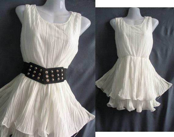 SUMMER SALE 70% OFF White Top Blouse Tunic Dress- Chiffon Party Dress - Cocktail Dress