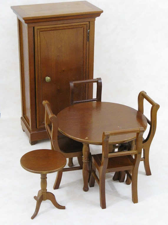 very large 7 piece french wooden toy furniture