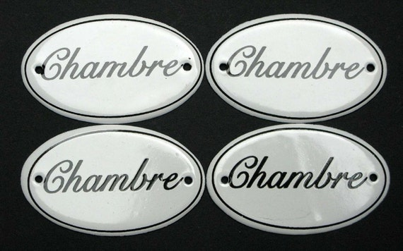 4 french chambre door plates