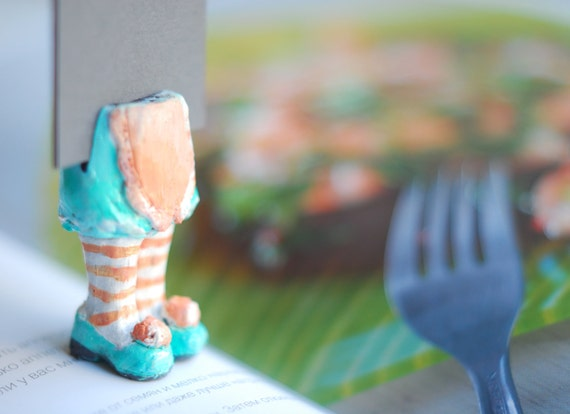 Housewife in the book. Unusual art bookmark. Funny oht gift. recipe-book accessory. Mint turquoise and pastel coral shoes.
