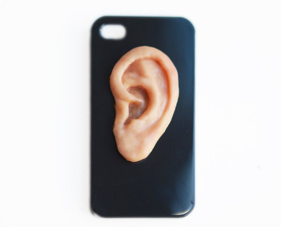 I HEAR YOU . IPhone 4 hard case .Unusual Iphone case. creepy ear on the black Iphone case. phone cases men