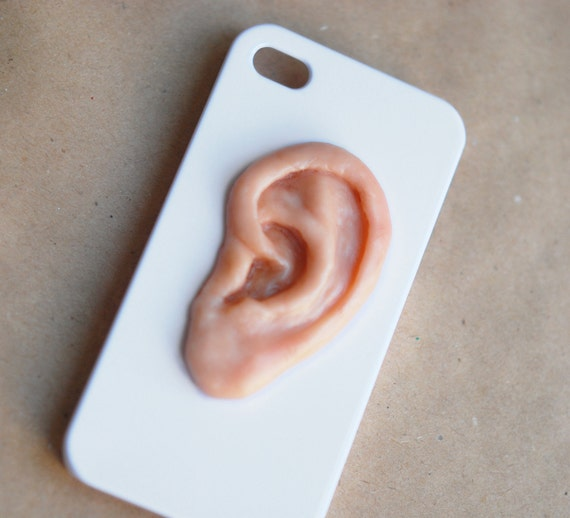 I HEAR YOU . IPhone 4 hard case .Unusual Iphone 4 case. Ear on the white Iphone 4 case. Halloween