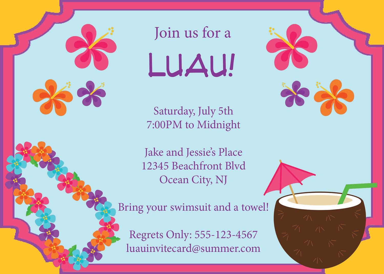 luau invitations templates free - luau invitation summer pool party luau invite by