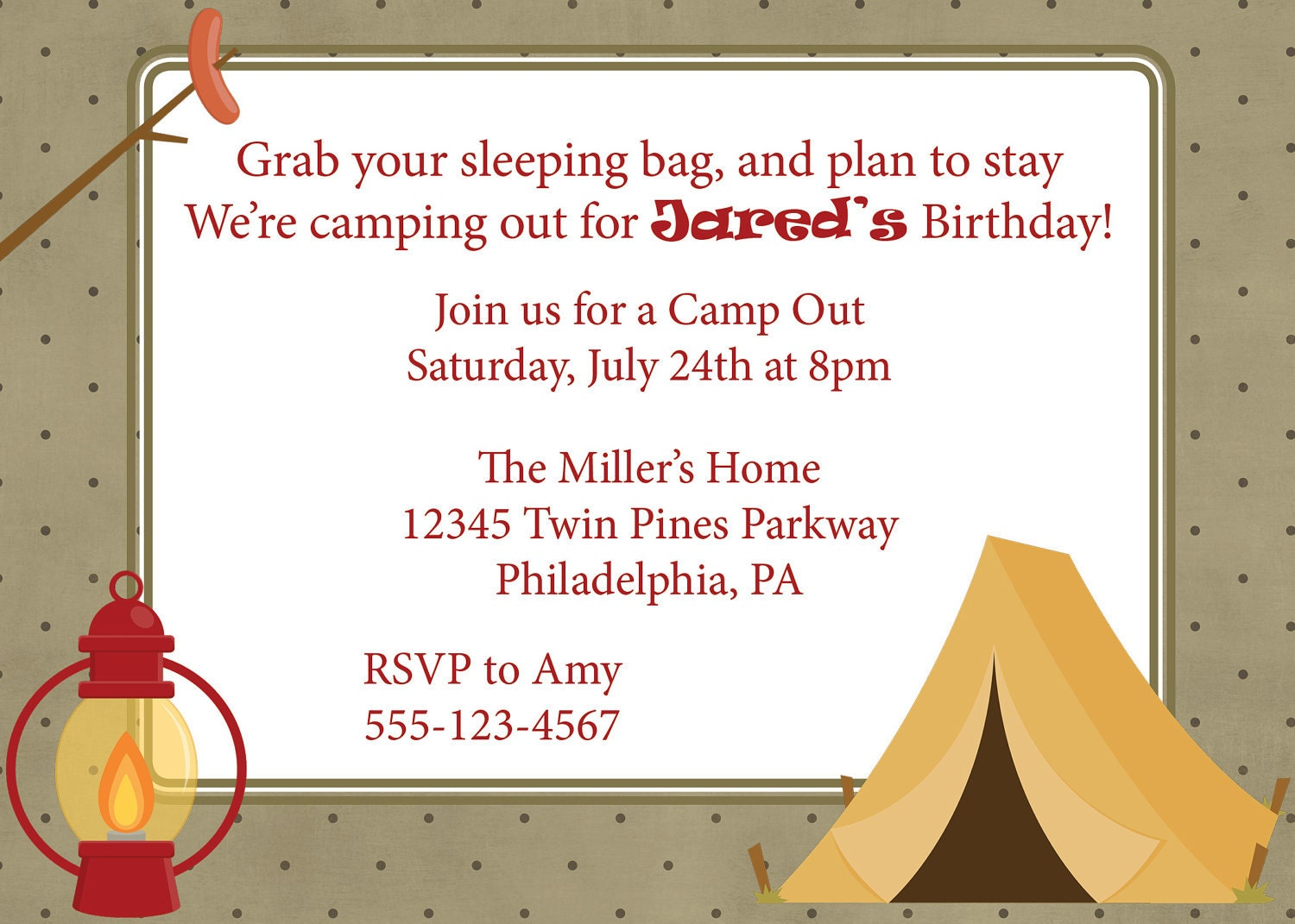 Campout Invitation Camping Camp Out Invite Diy Printable Boys