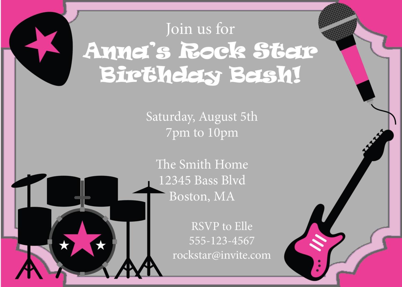 Rock Star Party Invitation Birthday Invite Girls Birthday DIY – Rockstar Party Invites