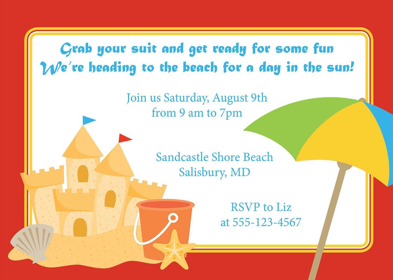 Beach Sandcastle Invitation Birthday Kid's Party