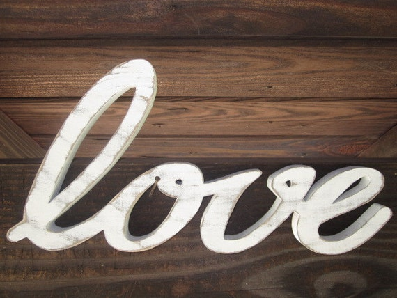 Wood Love Wedding Sign Retro Vintage Chic Cottage Decor - Distressed White