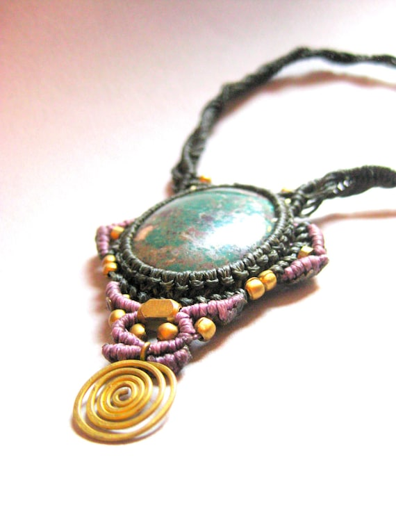 Turquoise and macrame necklace,Purple and green strings with bronze spiral,Organic materials,Bohemian chic jewelry
