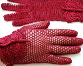 Vintage Style Crochet Lace Butterfly Gloves, red