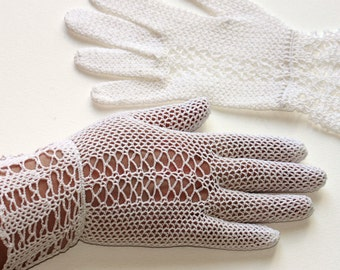 Vintage Style Crochet Fair Lady Gloves, white