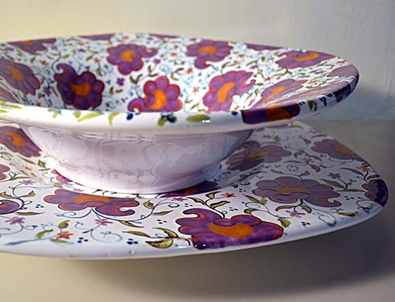 Large Majolica Ceramic Bowl and Serving Platter: Hand Painted in Whimsical Floral Design Decorative and Functional